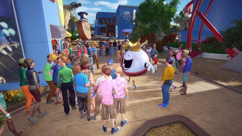 King Coaster entertaining guests in Planet Coaster.