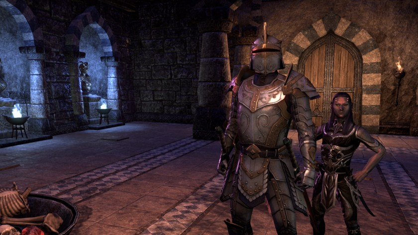 Standing at the entrance to Maelstrom Arena with Fa-Nuit-Hen in The Elder Scrolls Online.