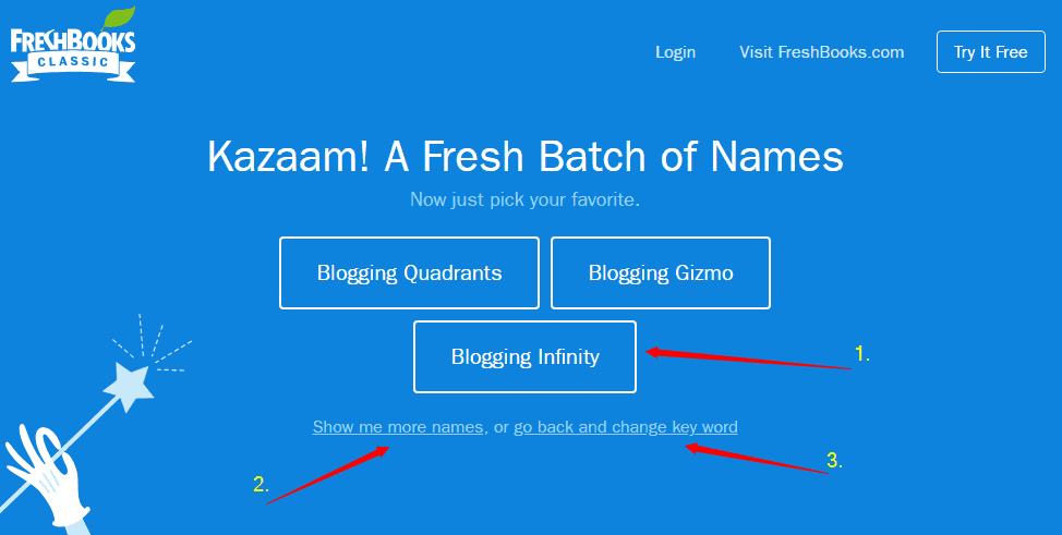 FreshBooks free business name generator tool