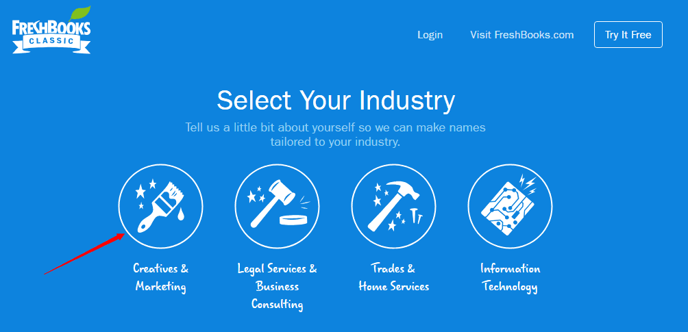 FreshBooks business name generator tool