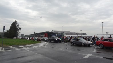 Traffic jam at the airport in Mošnov