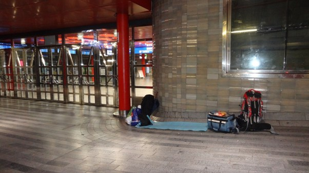 Overnight in front of the Central Station in Prague