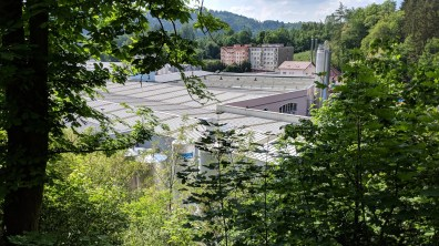 View from the pavilion to the KMV factory