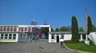 Entrance to the Thun 1794 porcelain factory with a shop