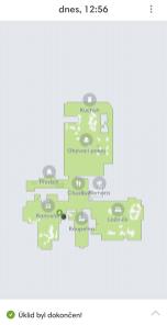Mapa z historie úklidu iRobot Roomba