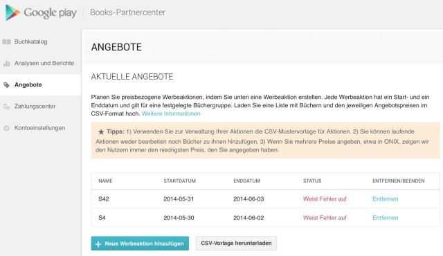 Misslungen: die Angebots-Funktion von Google Play Books