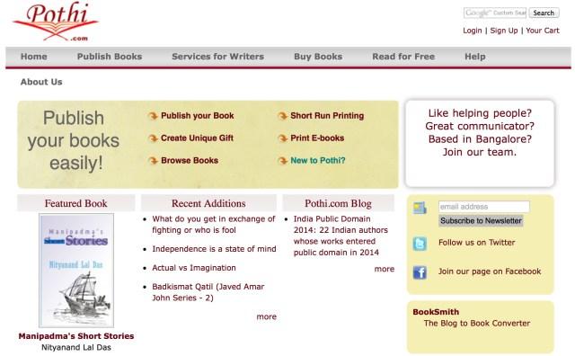 Self Publishing in Indien: Bei Pothi ist PDF Pflicht, ePub optional. Gezahlt werden 75% im eigenen Shop, 25% in anderen.