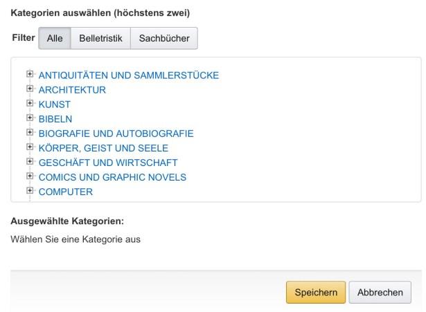 Die richtige Kategorie-Auswahl ist im deutschen KDP Zufall