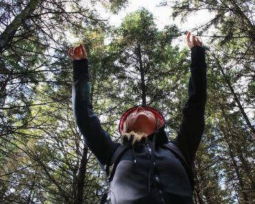 Woman in Woods Raised Hands