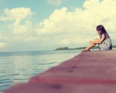Girl Deck Lake Sky
