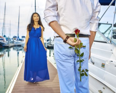 Couple Man Woman Flower Boat