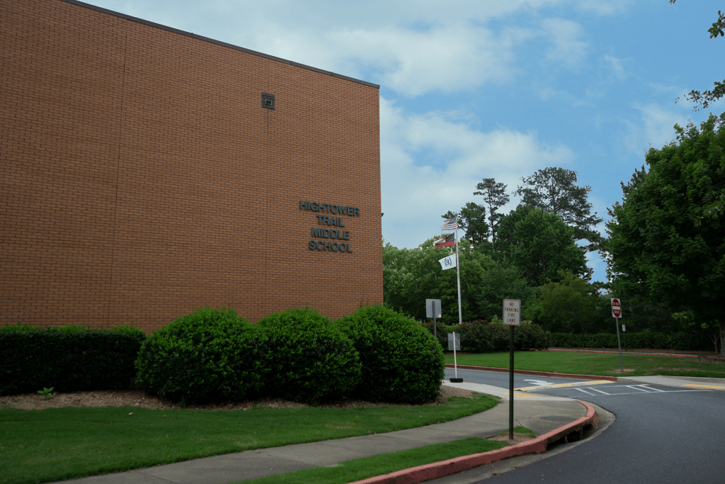 A view of the main school building at Hightower Trail Middle School in Cobb County, Georgia.
