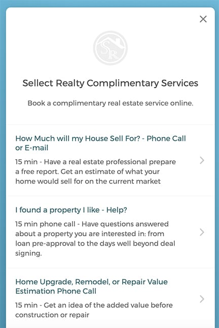 Sellect Realty Complimentary Professional Realty Service Main Menu