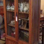 Antique Edwardian Solid Oak Bookcase Display Case With