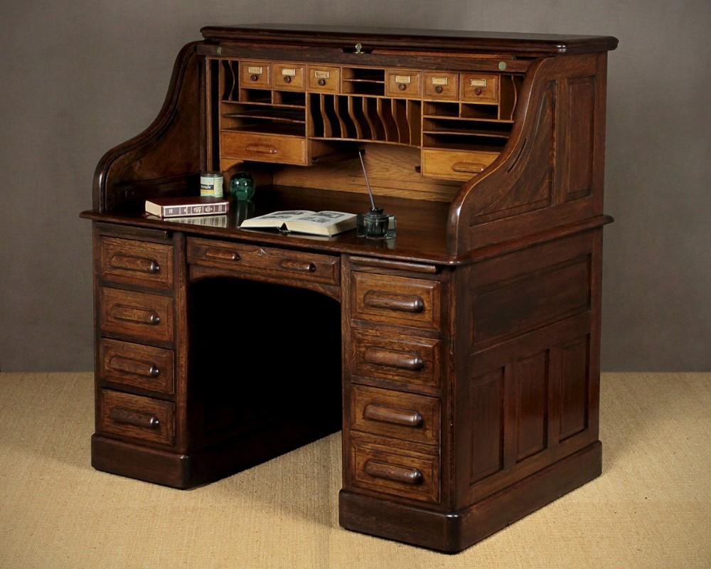 Edwardian Oak Roll Top Desk C1910 312543