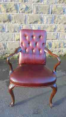 Antique Walnut Leather Desk Chair 590346 Sellingantiques Co Uk