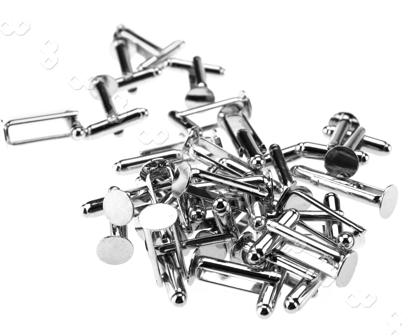 50x Silver Color Plated Flat Round Cufflink Findings Cuff