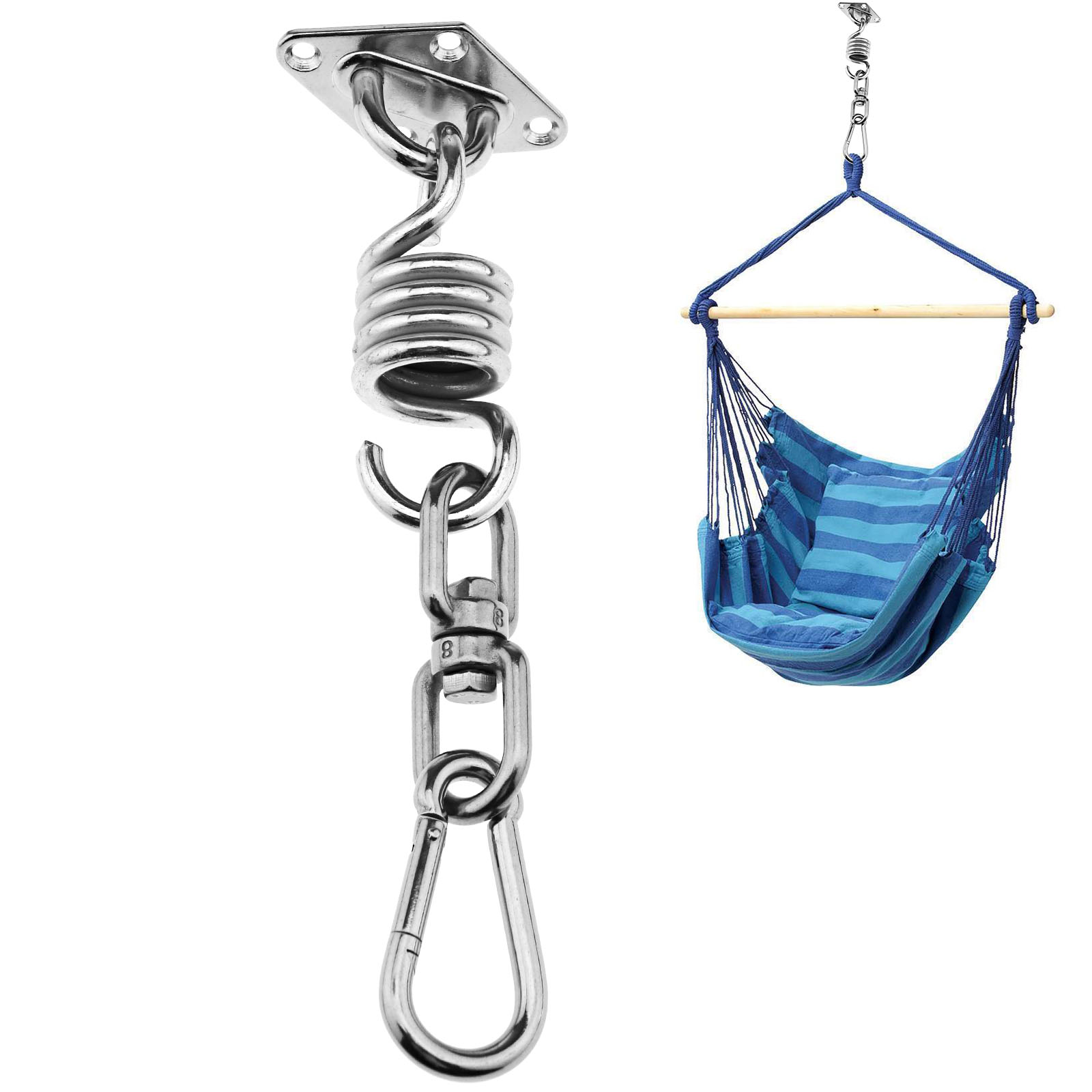 Hammock Chair Hanging Kit Ceiling Mount Spring Snap Swivel