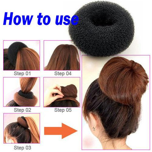 Women Girl Sponge Hair Styling Bun Maker Ring Donut Shaper
