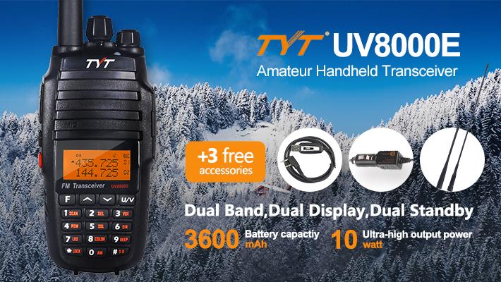 2 x TYT UV8000E Dual Band 3600mAh 10W HP Two-way Ham Radio Transceiver Repeater 1