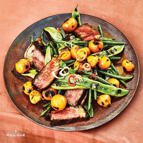 GRILLED STRIP STEAK WITH CHARRED VEGETABLES