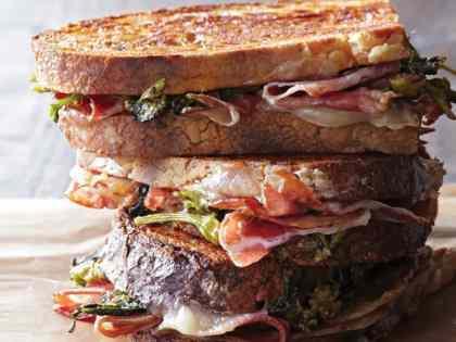 Pressed Prosciutto Sandwiches with Broccoli Rabe Pesto