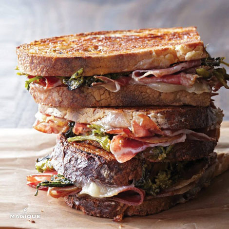 PRESSED PROSCUITTO SANDWICHES WITH BROCCOLI RABE PESTO