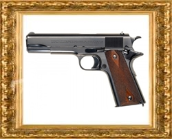 gold frame and pistol