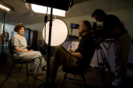 Dr. Forrest being interviewed by PBSs NOVA crew, in 2007.  Southeastern Louisiana University photo.