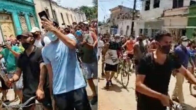 """A gritos de """"libertad"""" y """"abajo la dictadura"""" cientos de cubanos se lanzaron a las calles"""