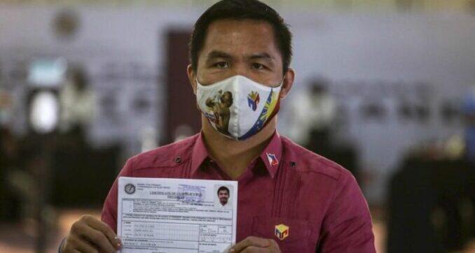 Pacquiao registra su candidatura a presidente de Filipinas