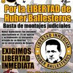 3 y 4 de octubre en Bogotá: Solidaridad con Húber Ballesteros y demás prisioneros políticos