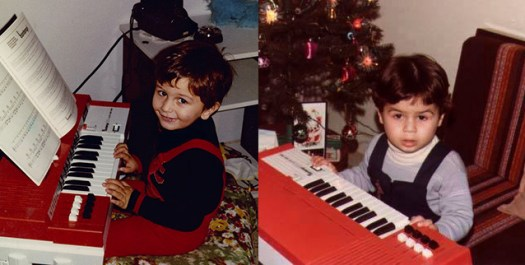 Alex (left) and myself (right) playing the same toy piano