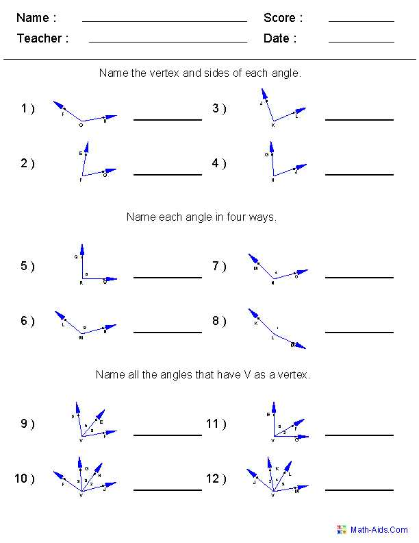 3 1 Lines and Angles Worksheet Answers together with Naming Angles Worksheets 6th Grade Math Pinterest