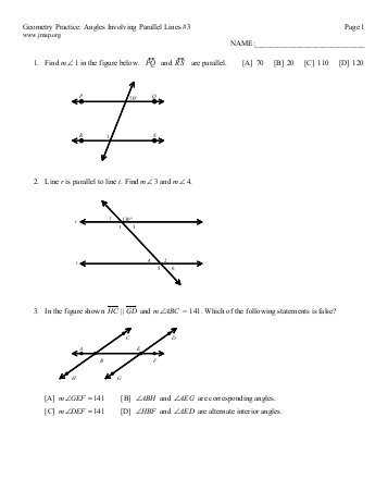 3 1 Lines and Angles Worksheet Answers with Geometry M217 Name Chapter 3 Test Review Date Hour