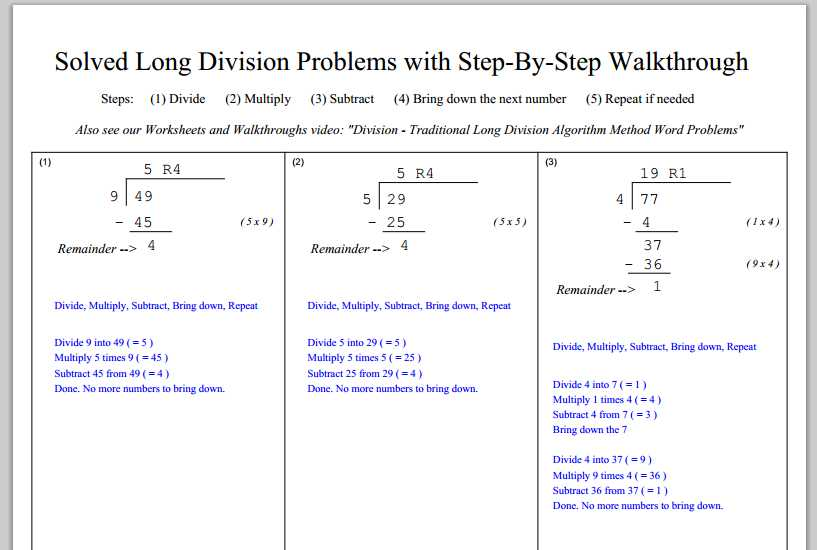 4th Step Worksheet and Long Division Instruction Worksheet Kidz Activities