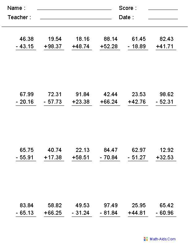Adding Subtracting Multiplying and Dividing Fractions Worksheet with Mixed Problems Worksheets