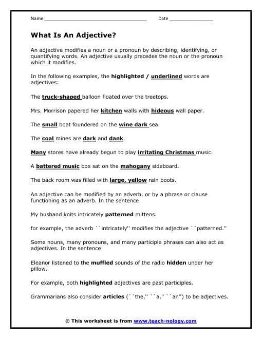 Adjective and Adverb Worksheets with Answer Key Along with Sentences with Nouns and Adjectives Worksheets