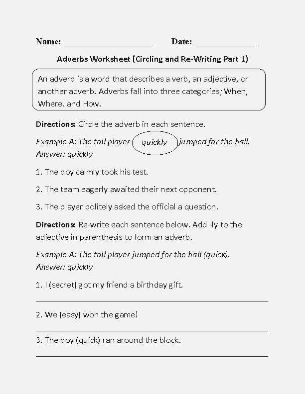 Adjective and Adverb Worksheets with Answer Key as Well as Dailypoll – Page 12 – A Worksheet is A Sheet Of Paper
