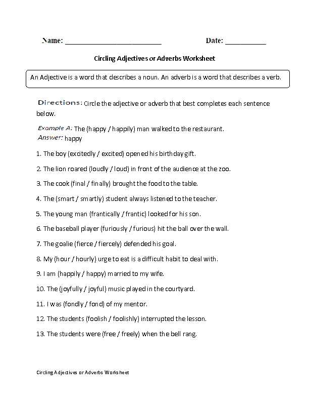 Adjective and Adverb Worksheets with Answer Key or Endearing Adjective Worksheets 5th Grade Free Also Adjectives
