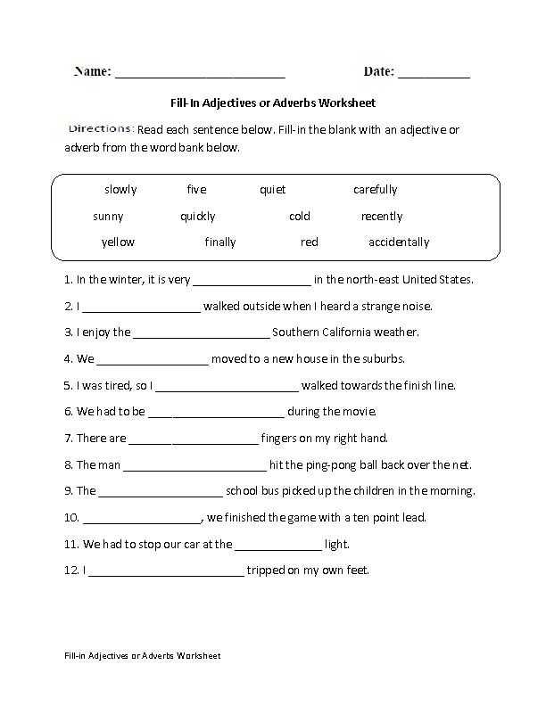 Adjective and Adverb Worksheets with Answer Key or Fill In Adjectives Worksheet Kidz Activities