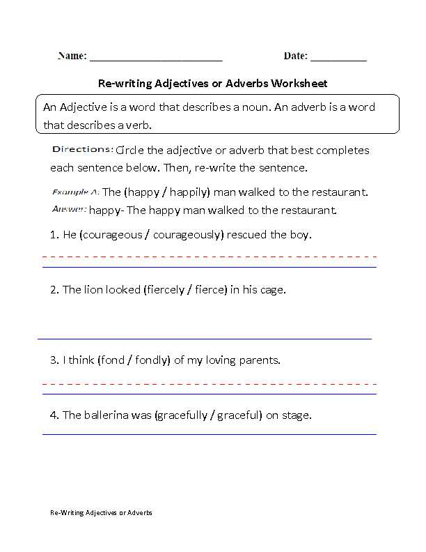 Adjective and Adverb Worksheets with Answer Key together with Sentences with Nouns and Adjectives Worksheets