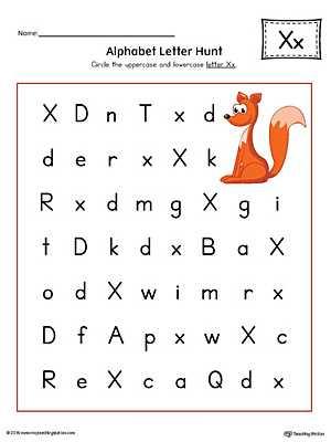 Alphabet Worksheets for Pre K and Alphabet Letter Hunt Letter X Worksheet Color