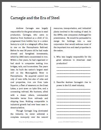 America the Story Of Us Worksheet Answers as Well as Carnegie and the Era Of Steel Free Printable American History