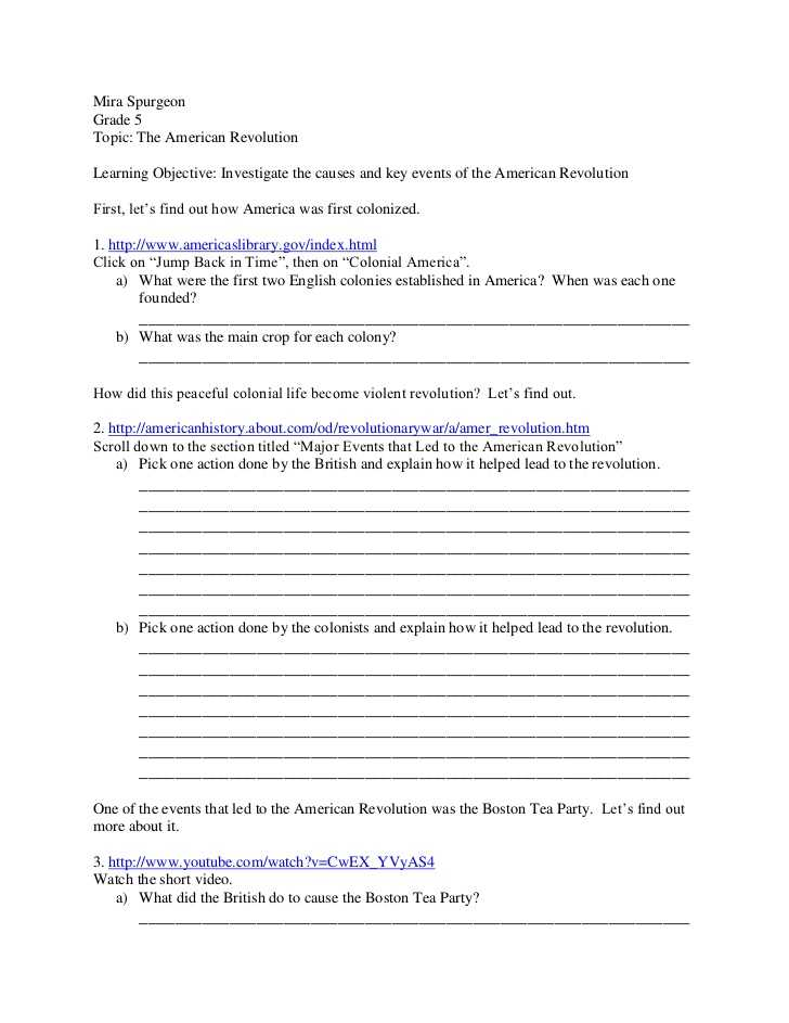 America the Story Of Us Worksheet Answers together with American Revolution Webquest