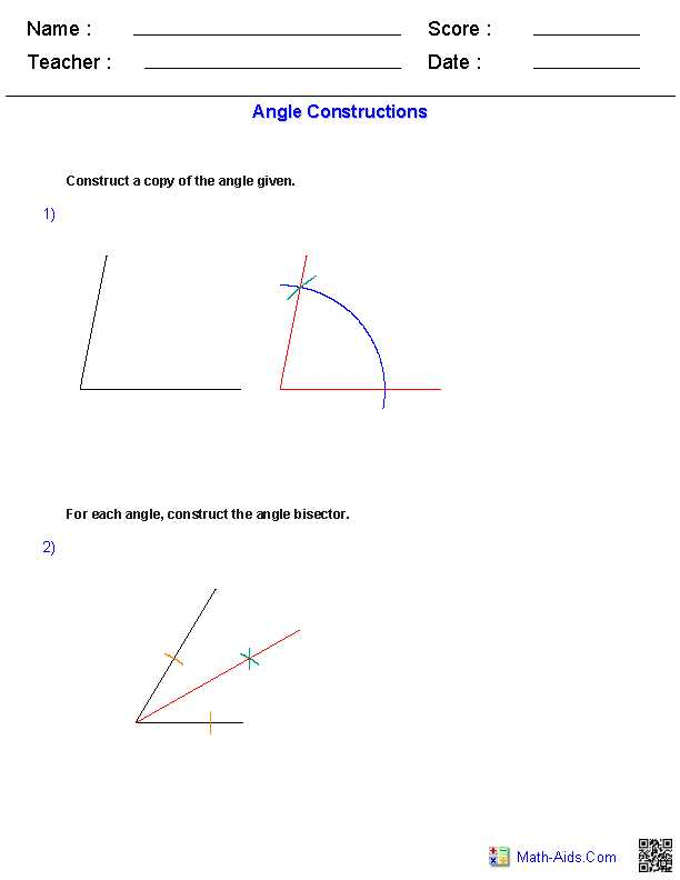 Angle Bisector Worksheet Answer Key and Angles Constructions Worksheets Ideas for the House