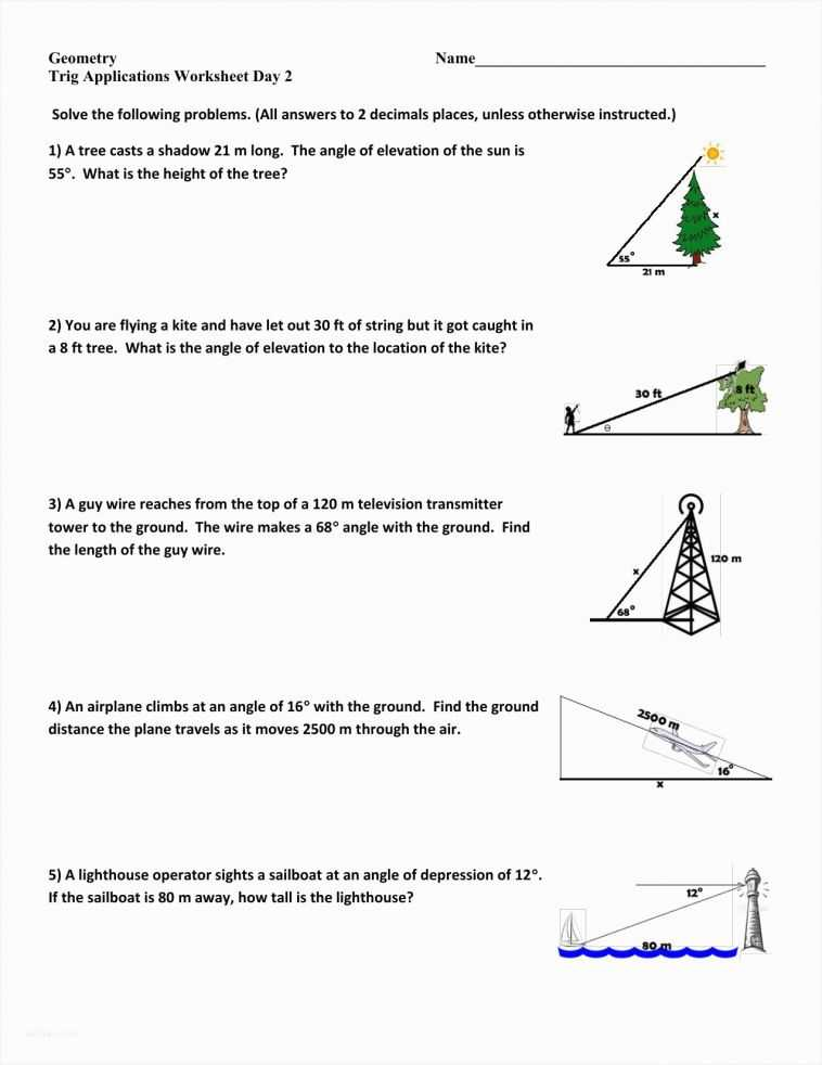 Angle Of Elevation and Depression Worksheet with Answers as Well as Fresh Angle Elevation and Depression Trig Worksheet – Sabaax