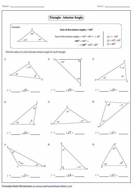 Angles In A Triangle Worksheet Answers as Well as 11 Best Geometry Triangles Images On Pinterest