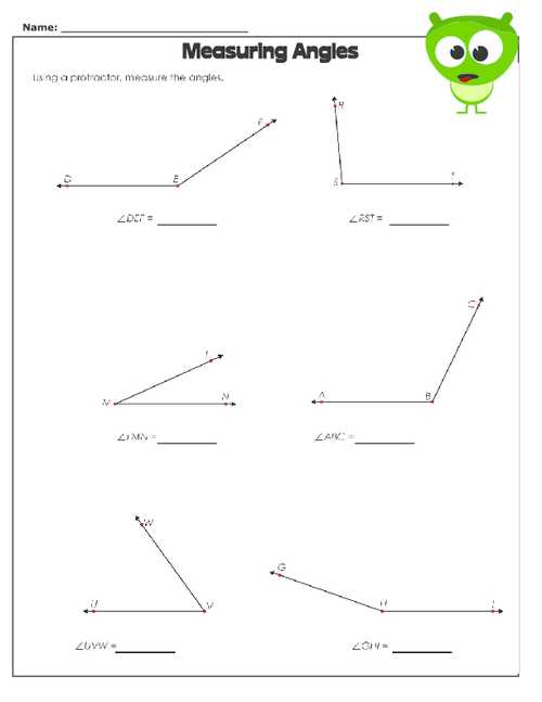 Angles In A Triangle Worksheet Answers together with Measuring Angles Worksheet