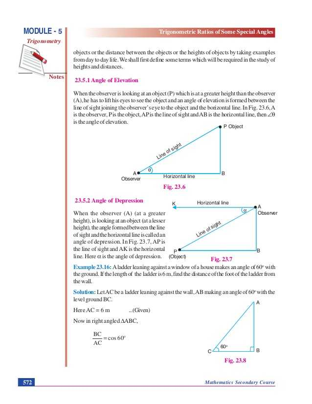 Angles Of Depression and Elevation Worksheet Answers as Well as Trigonometric Ratios Of some Special Angles